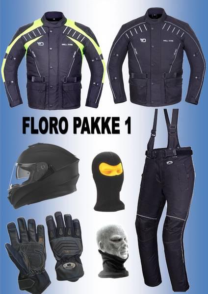 FLORO PAKKE 1: jakke,bukse,hjelm,hansker,halsvarmere